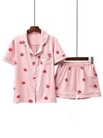 Japan college girls lovely pajama set Korean University female sweet pink strawberry dormitory wear kawaii 2 piece sleepwears