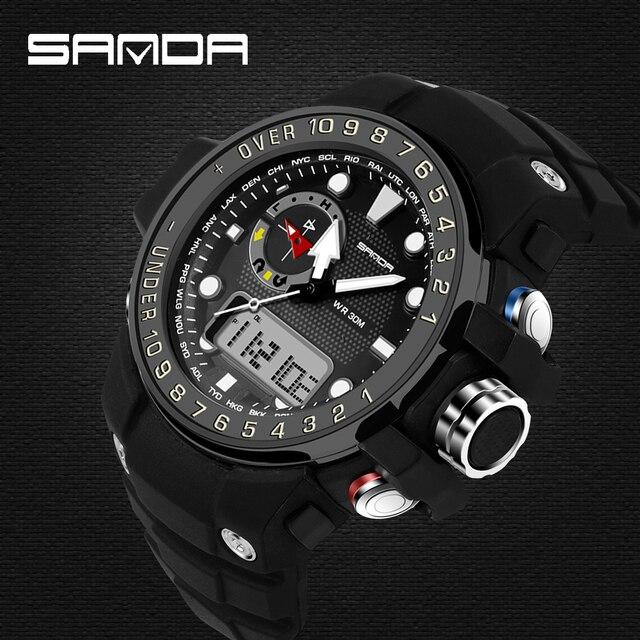 SANDA New Sport Watches Dual Display Men Digital Fashion Military Casual Sports Watch Luxury Brand Relogio Outdoor Wristwatches