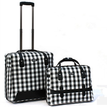 "12""22""inch High quality Oxford trolley plaid bags rolling luggage Computer bag spinner wheels travel suitcase sets soft box"