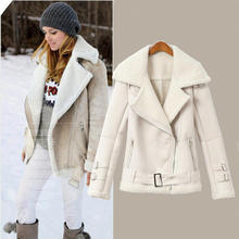 2016 Women new fashion winter clothing, plus size leather suede velvet jacket coat, female casual warm skin lamb fur outerwear