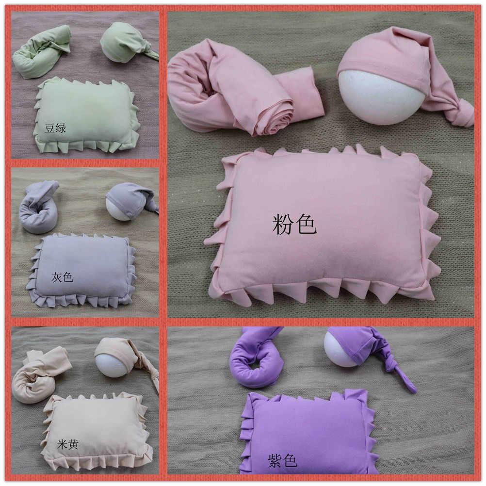 Abrigos de fotografía de recién nacido Swaddle accesorios de foto de recién nacido mantas de fotografía de bebé envolturas + almohada de bebé + sombrero para accesorios de sesión fotográfica