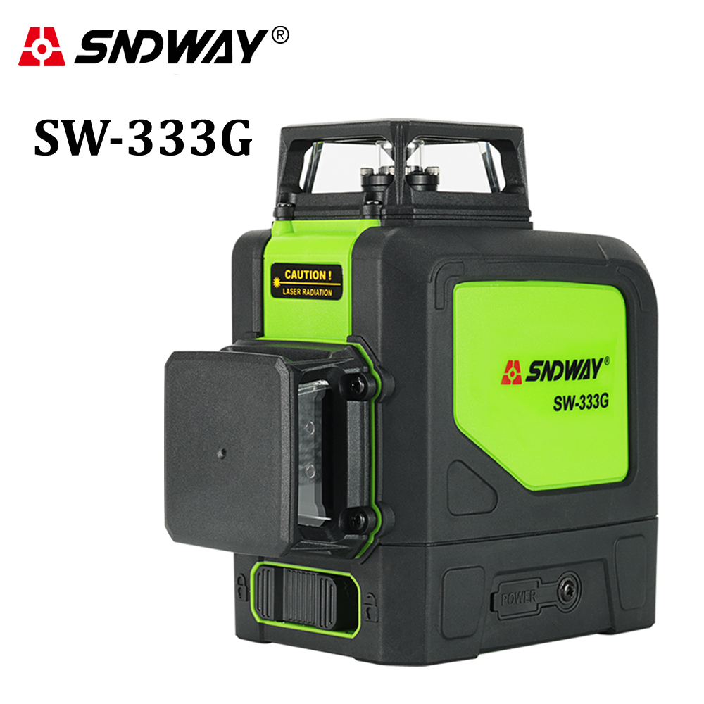 SNDWAY laser niveau 12 lignes Vert laser niveau trépied auto-nivellement niveau laser 360 degrés laser niveau outils de construction