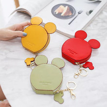 New Fashion design Mickey head wallets women small cute cartoon kawaii card holder key chain money bags for girls ladie