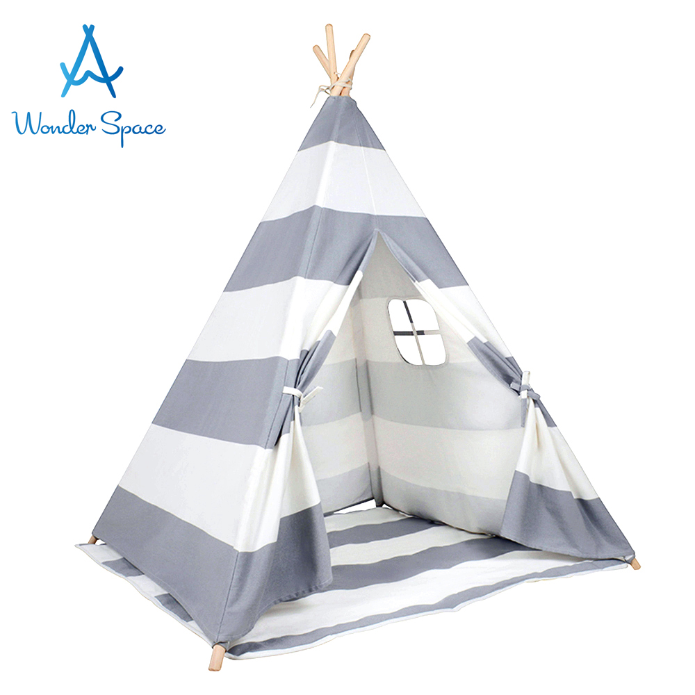 Kids Teepee Play Tent - 100% Cotton Canvas Grey Stripe Children Tipi  Playhouse with Mat Indoor Outdoor Toy Boys Girls Baby Gift