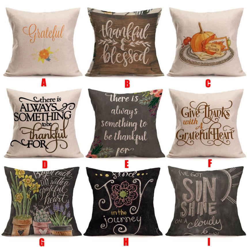 2018 Pillow Case 45*45 Happy Fall Thanksgiving Day Soft Linen Pillow Case Cushion Cover Home Decor Free Shipping NEW DE28
