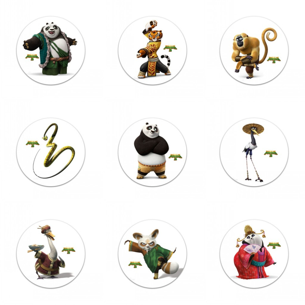 Novelty 45pcs Kung Fu Panda 30mm Diameter Cartoon Buttons Pins Badges Round Badges Childrens Gifts Kids Bags Decoration Luggage & Bags