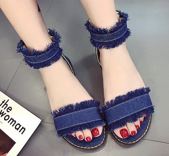 f01095520a9 Comfortable women flat sandals open-toe blue black white shoes ladies  casual blue denim jeans shoes leisure gladiator sandals