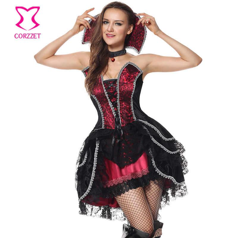 Corzzetレース+サテン大人レディースセクシーなハロウィンパーティーゴシック吸血鬼魔女衣装衣装ファンシーコスプレドレス