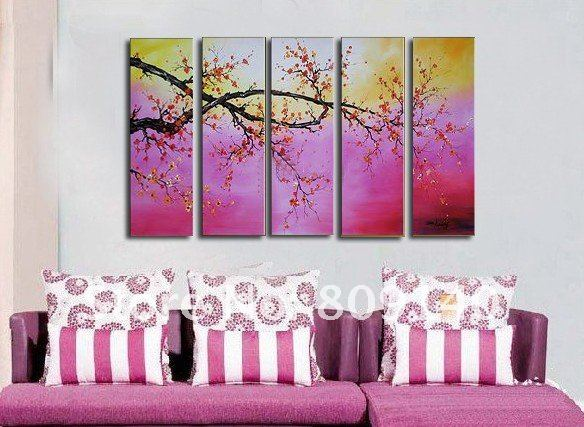 Free Shipping Abstract Painting Scenery Purple Oil Painting Canvas Hand Painted Home Decor Hotel Decor Wall