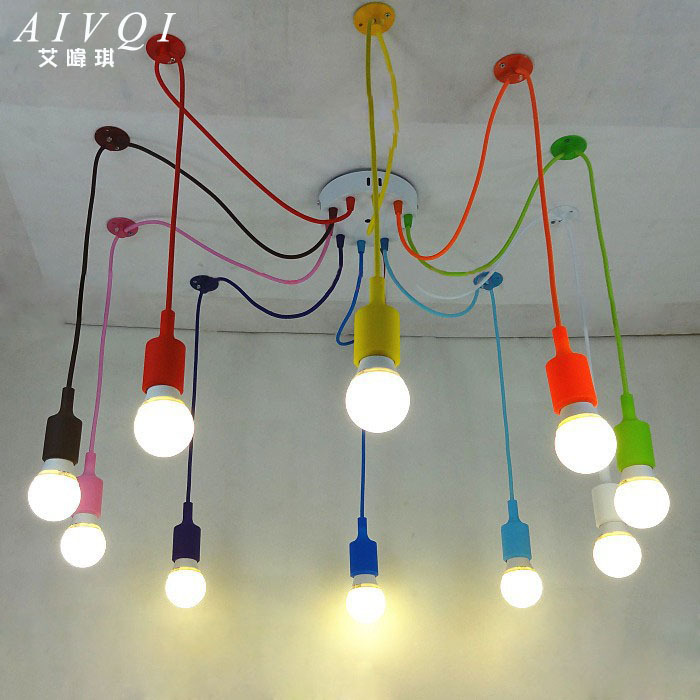 Silicone colorful pendant lights diy multi color e27 bulb for Suspension ampoules multiples