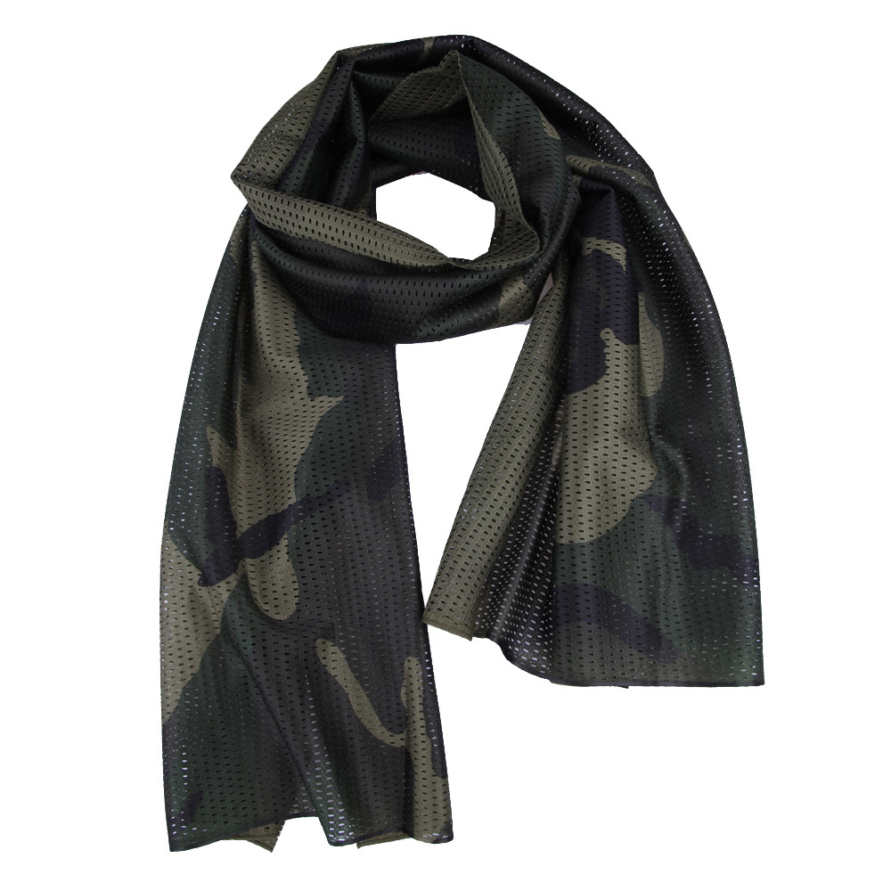 Military Tactical Camouflage Scarf Mesh Outdoor Breathable Headband Mesh Scarf Outdoor Jungle Muffler Camping Hiking Men Scarf