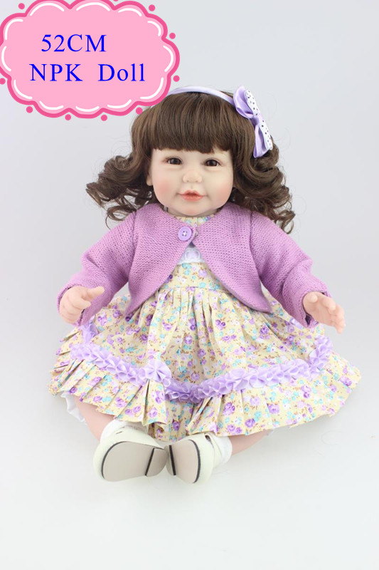Fairlady Like 52cm 20inch Curl Hair Lifelike Baby Dolls For Children Benecas Reborn Best Price Silicone Toddler Dolls Hot Toys short curl hair lifelike reborn toddler dolls with 20inch baby doll clothes hot welcome lifelike baby dolls for children as gift