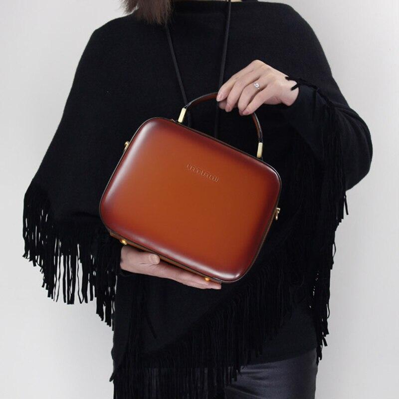 Cowhide Women Stylish Handbag 2019 Genuine Leather Square Messenger Bags Exquisite Shoulder Cross body Bags Lady