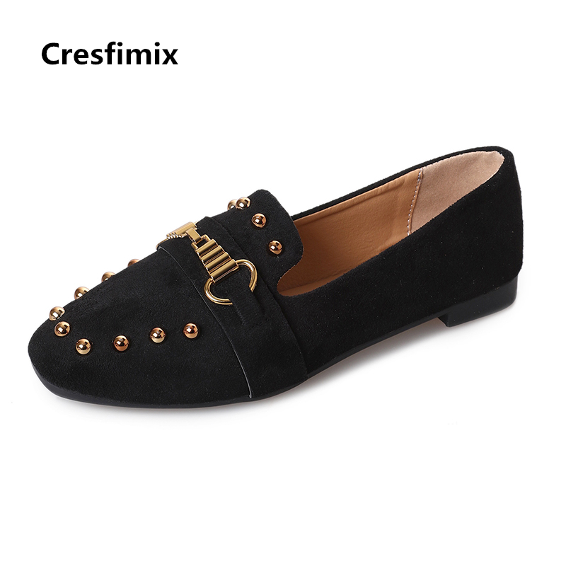 Cresfimix sapatos femininas women casual flock spring & autumn slip on flat shoes lady cute round toe flats female cool shoes cresfimix sapatos femininas women casual soft pu leather flat shoes with side zipper lady cute spring