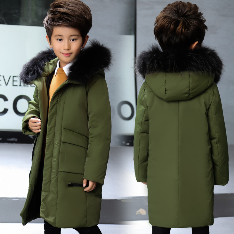 04d729141a6f Boys Long Real Big Fur Collar Down Jackets Children Winter Outdoor Hooded  Windproof Warm Down Coats Kids White Duck Down Jacket-in Down   Parkas from  Mother ...