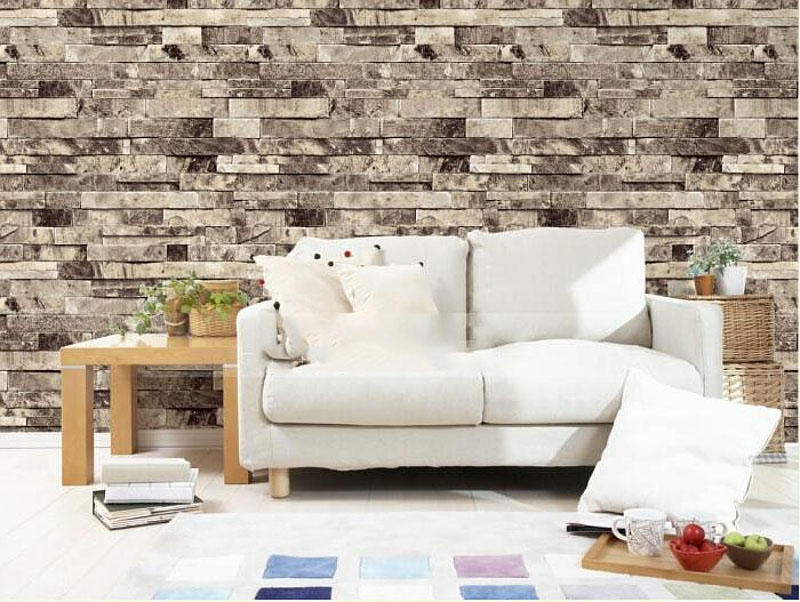 Stone Brick 3D Wallpaper Bedroom Living Room Background Wall Vinyl Retro Wall Paper Roll Rustic Faux Stone Wallpapers