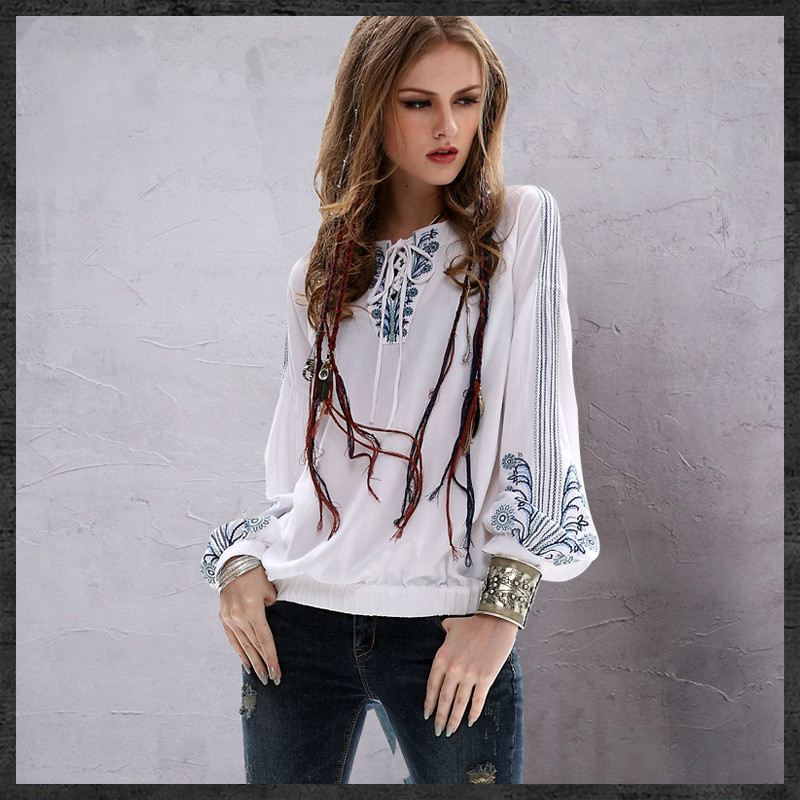 Bohemian hippie long sleeve o neck white embroidery lace up white blouse shirt 2018 women tops blusas feminina roupa feminina