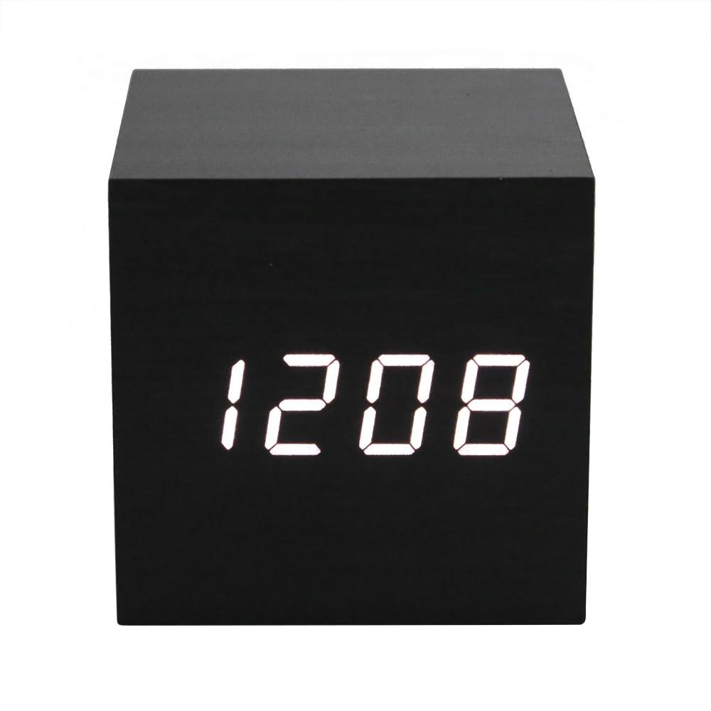 Multifunction Voice Control Desk Alarm Clock Modern Wooden Cube Digital LED Thermometer Timer Calendar Electronic Desk Clocks