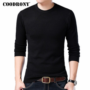 COODRONY Sweater Men Autumn Winter Warm Mens Knitted Wool Sweaters Solid Color Casual O-Neck Pull Homme Cotton Pullover Men 7209(China)