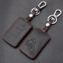 Chave de couro apto para renault scenic clio laguna megane capturturador kappul koleos sandero twingo capa com 4 botões capa de proteção