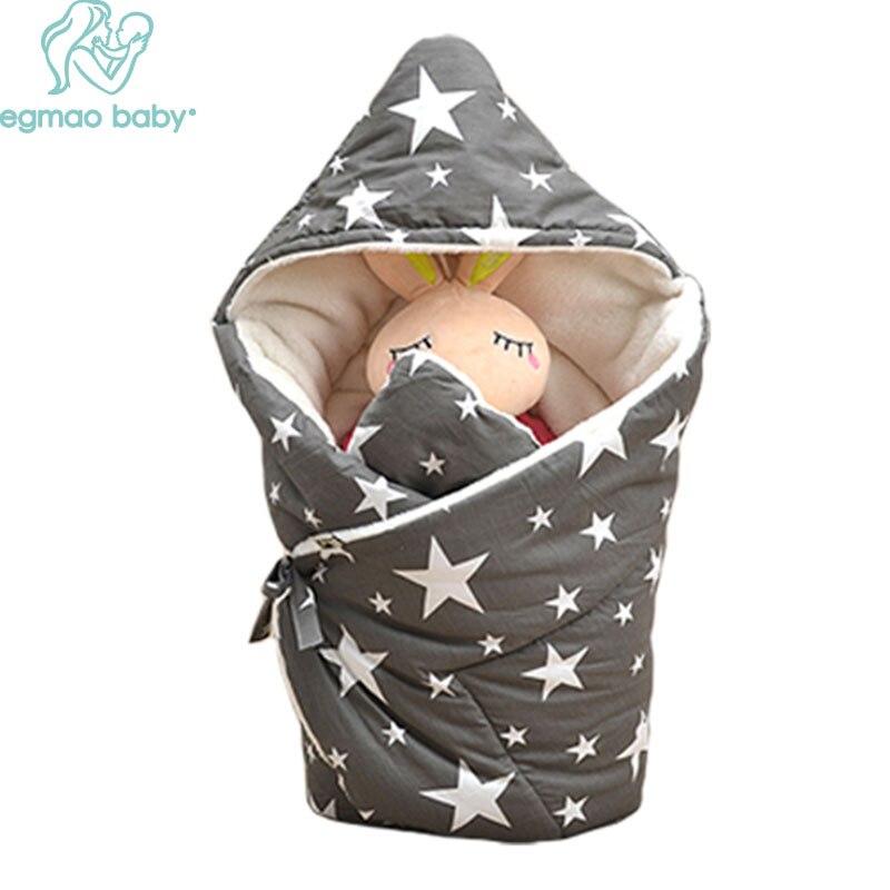 2017 New Winter Baby Swaddle Wrap Sleeping Bag Baby Swaddling Blankets Newborn Infant Towel Soft Short Plush Winter Envelope