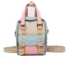 купить New Tide Personality Donut Mini Backpack Teenage Girl Stitching Contrast Color School Backpack Femme Casual Travel Backpack D160 дешево
