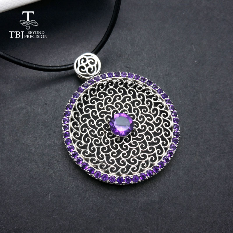 TBJ  Luxury big natural amethyst gemstone pendants in 925 sterling silver February birthstone gemstone pendant with leather cordTBJ  Luxury big natural amethyst gemstone pendants in 925 sterling silver February birthstone gemstone pendant with leather cord