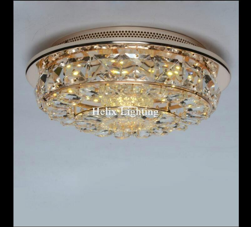 Golden D280mm 21W LED Ceiling Lights Ceiling Lamp Flush Mount Crystal Light AC 90-260V Surface Mounted Hallway Ceiling Lamp