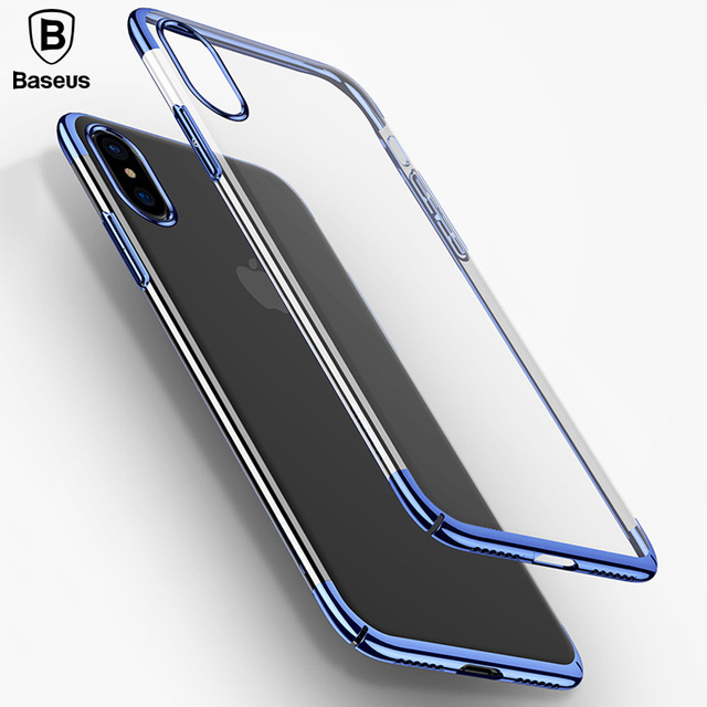 Baseus Luxury Plating Plastic Case For iPhone X Ultra Thin Protective Phone Cover Case For iPhone X case Transparent Back Coque