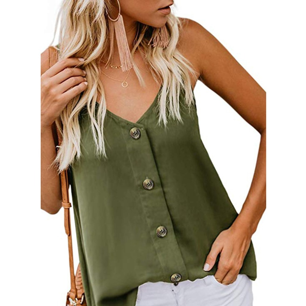 Fashion Womens V-neck Vest Sleeveless Button Solid Shirt Tops 2019 new women Casual Camis Tank Tops <font><b>camiseta</b></font> <font><b>mujer</b></font> <font><b>verano</b></font> <font><b>sexy</b></font> image