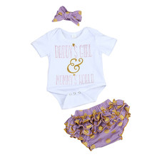 Ensemble de vêtements pour nouveau-né, 3 pièces, body blanc violet, pantalon à volants, bandeau, vêtements d'été décontractés, Carters, barboteuse pour fille
