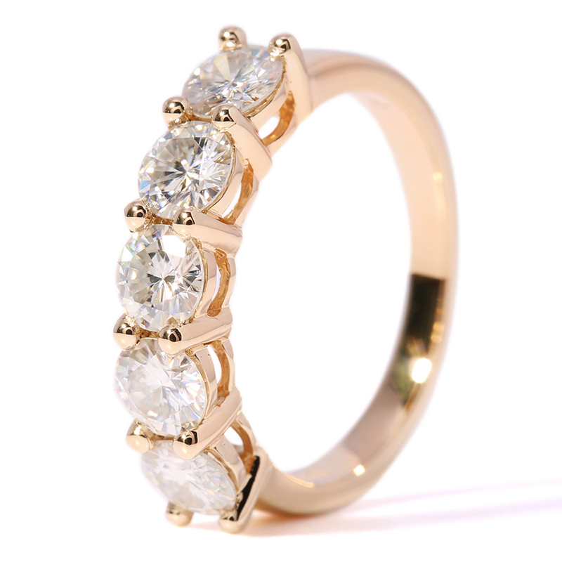 Image 2 - Transgems Solid 14K 585 Yellow Gold 1.25CTW 4mm F Color Moissanite Diamond Half Eternity Wedding Band Rings for Women Jewelry-in Rings from Jewelry & Accessories