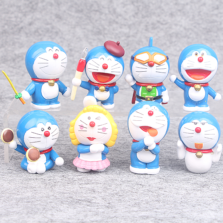 8pcs/lot Kawaii cute Japanese classic anime figure Doraemon action figure set collectible model toys for boys