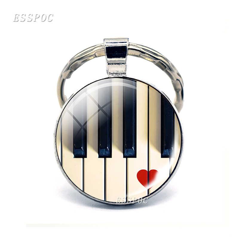 Музыкальный брелок ювелирное винтажное пианино фото стеклянный брелок с кабошоном музыкальные аксессуары панк ручной работы подарок для любителей фортепиано