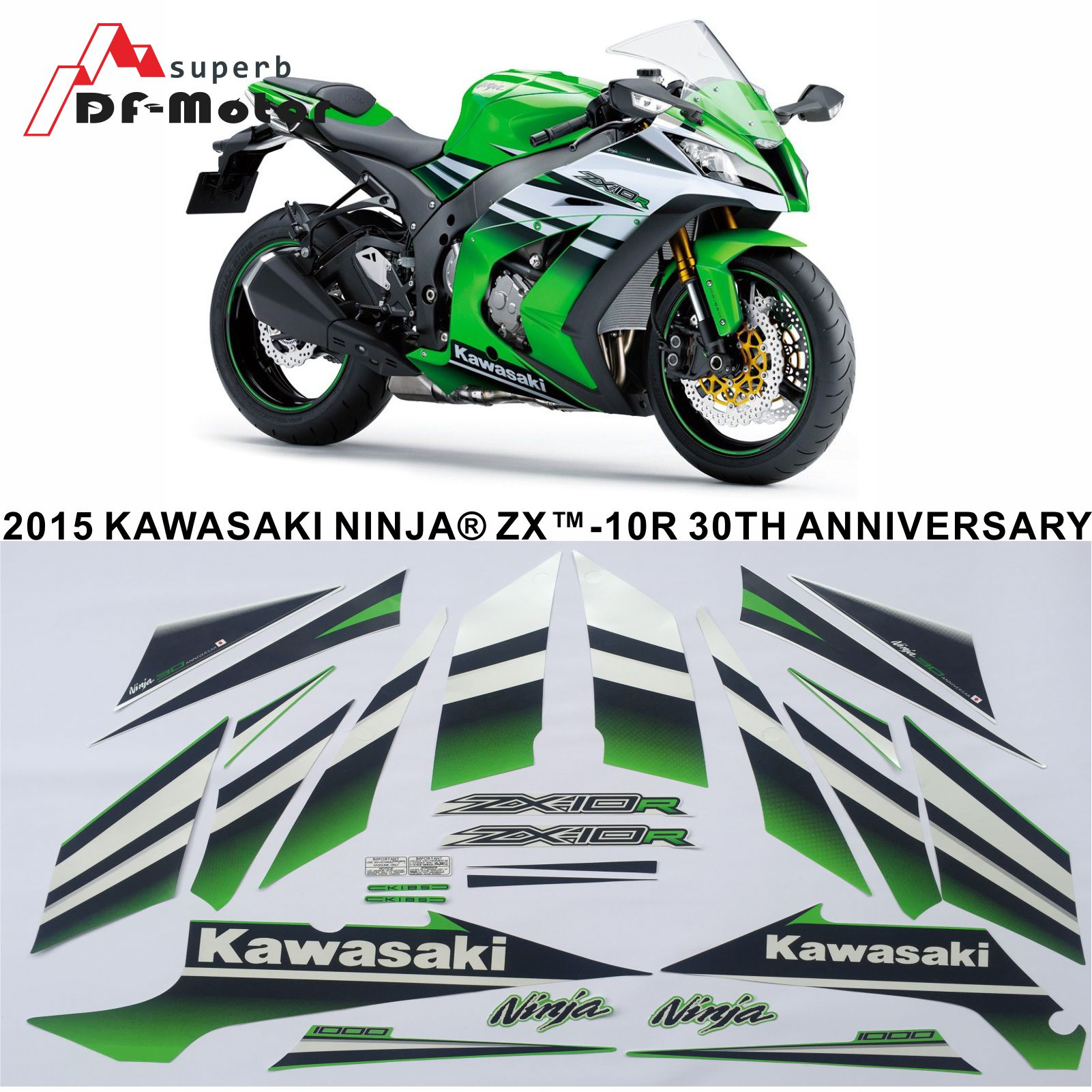 New ZX10R 2015 Stickers Motorcycle Whole Vehicle 3M Silk-Sceen Printed Decals Stickers For Kawasaki ZX 10R Full Decals Graphics