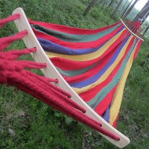 Image 5 - 250*150cm 2 אנשים חיצוני בד קמפינג ערסל עיקול עץ מקל יציב Hamak גן תלוי Hangmat כחול אדום