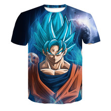 6c092bf4241596 Heren 3D Dragon Ball Z Ultra Instinct Goku Super Saiyan God Blauw Vegeta  Print Cartoon Zomer Top T-shirt 4XL