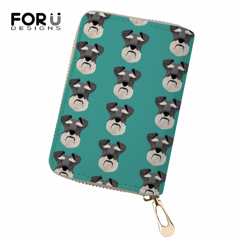 FORUDESIGNS 18 Card Slots Pu Leather Women Card Holders 3D Prints Schnauzer Credit Card  ...