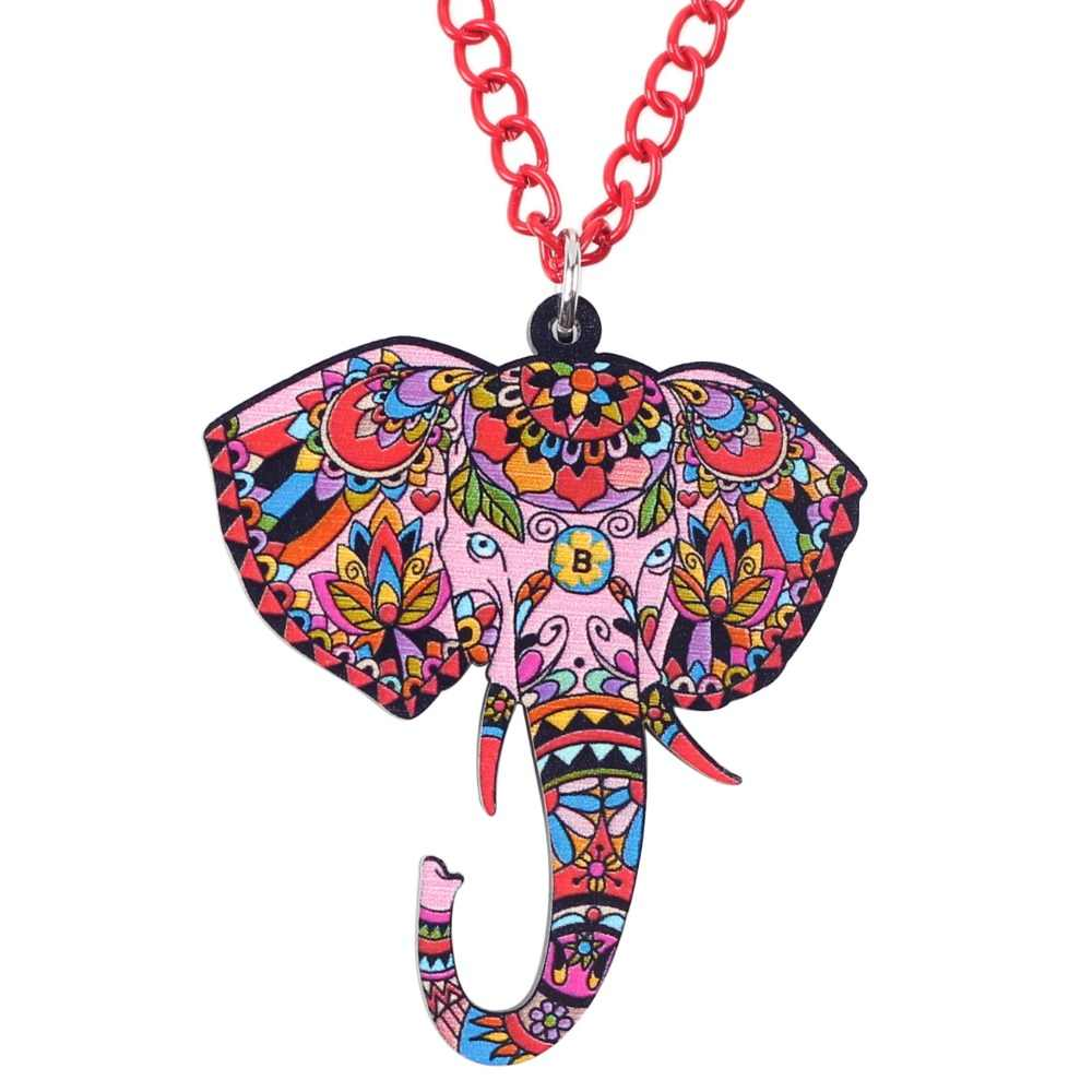 WEVENI Acrylic Printing Elephant Necklace For Women Original Pendant Collar Chain Long Trendy Wholesale Jungle Animal Jewelry