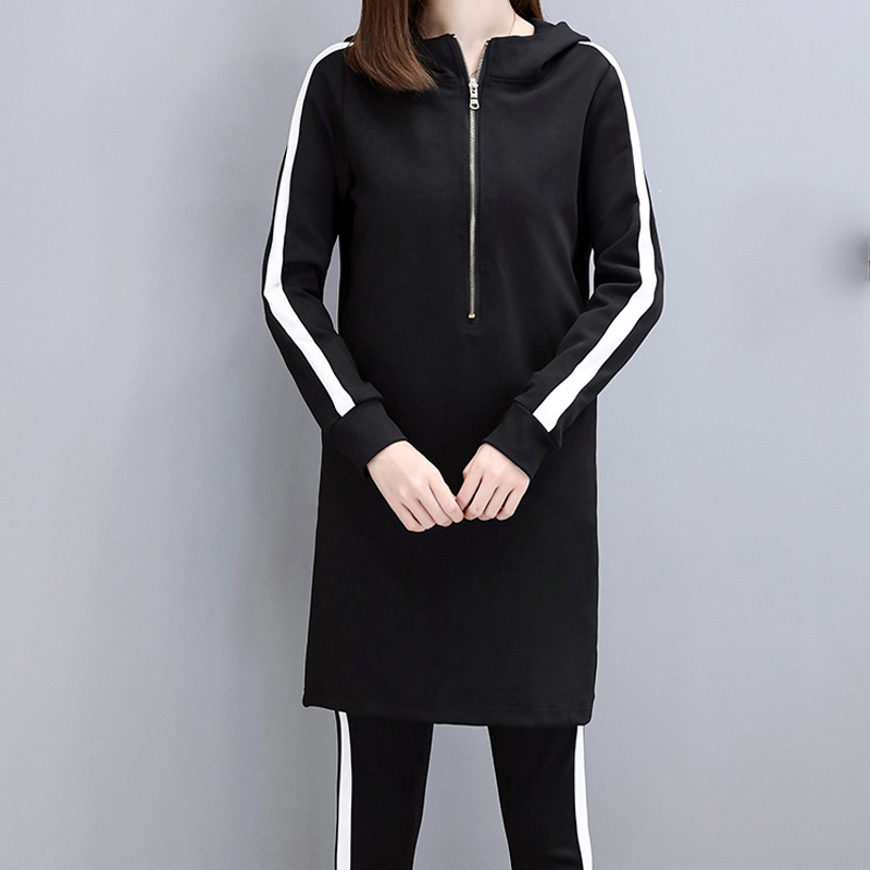 IN Stock 2019 Slim Black Hoodies Women Set Plus Size Stripe Side Casual Two Piece Set Women Zipper Long Hooded Sweatshirt + Pant