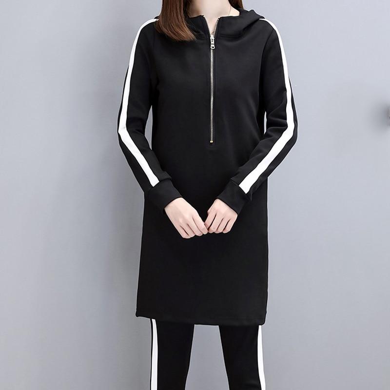 IN Stock 2019 Slim Black Hoodies Women Set Plus Size Stripe Side Casual Two Piece Set Women Zipper Long Hooded Sweatshirt + Pant