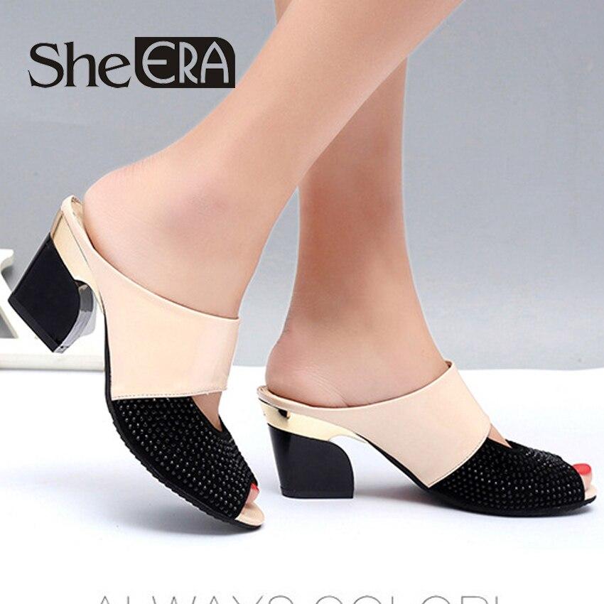 2018 She ERA Women Sandals 7.5cm Square heel Women Pumps Fashion Summer Peep Toe Women Shoes Metal Decoration Women High Heels