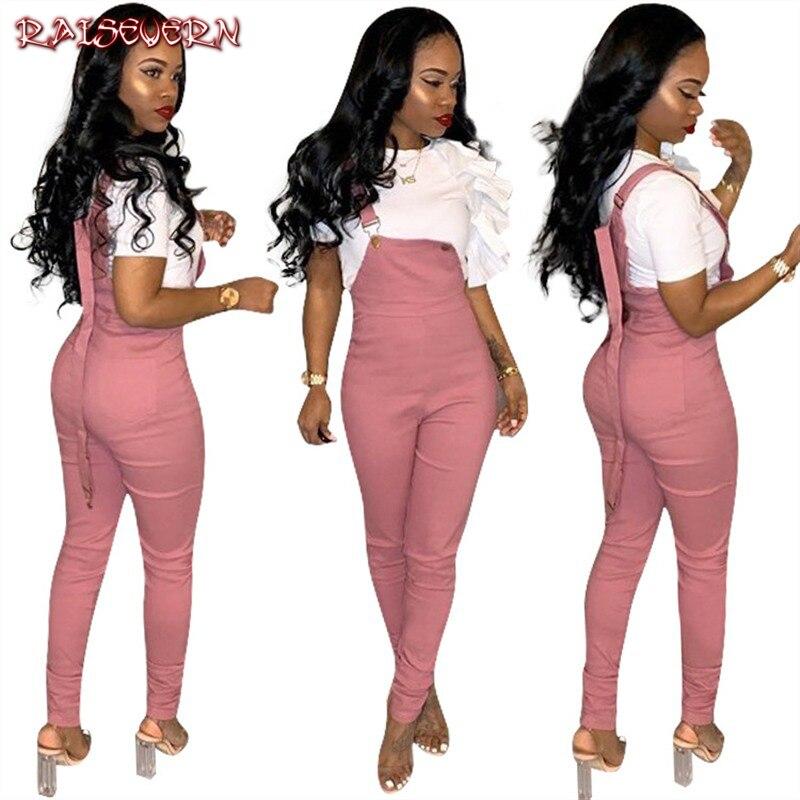 62af531593e9 RAISEVERN Spring Summer Women Slim Strap Rompers Casual Simple Brief Rompers  Cool Pink Solid Elegant OL
