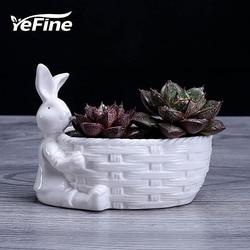 Yefine blanc de chine branco cerâmica diy vasos de flores decoração coelho vaso de flores para planta verde jardim plantador vasos porcelana