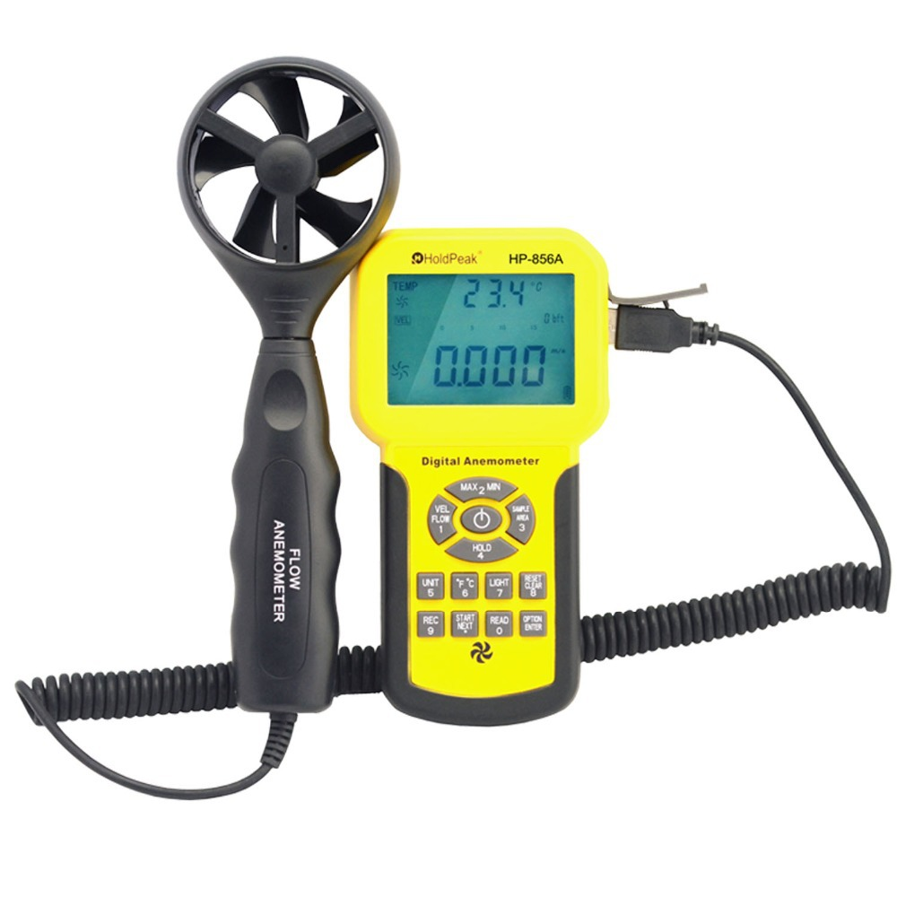 HoldPeak HP-856A Digital Wind Speed Air Volume Meter Anemometer USB/Handheld with Data Logger and Carry Case  цены