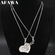 2019 2 PCS Heart Love Stainless Steel Necklace for Couple Jewelry Silver Color Jewellery Collar de pareja N18917