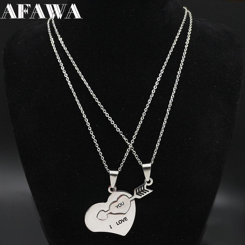 2020 2 PCS Heart Love Stainless Steel Necklace for <font><b>Couple</b></font> <font><b>Jewelry</b></font> Silver Color Necklace Jewellery Collar de pareja N754S01 image