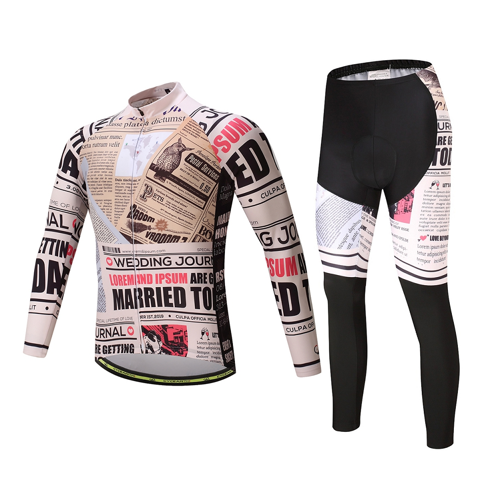CYCEARTH Spring Summer Men's Long Sleeve Cycling Jersey Sets Breathable  Padded Bicycle Sportswear Cycling Clothings CEL002A wosawe men s long sleeve cycling jersey sets breathable gel padded mtb tights sportswear for all season cycling clothings