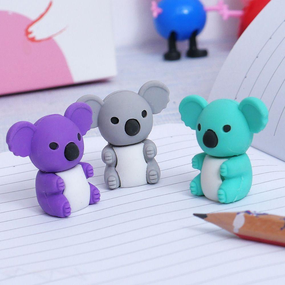 2PCS/Pack Creative Cartoon Cute Koala Animal Rubber Eraser Stationery For Children Students Gift Toy Eraser School Office Supply