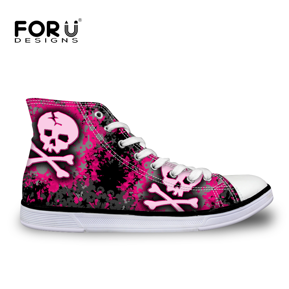 FORUDESIGNS Women Sneakers Punk Skull Hip Hop Women's High Top Vulcanized Canvas Shoes Woman Casual Ladies Fashion Zapatos Mujer large size 8cm high 2016 women casual canvas shoes woman platform wedges high top with zippers ladies zapatos mujer espadrilles